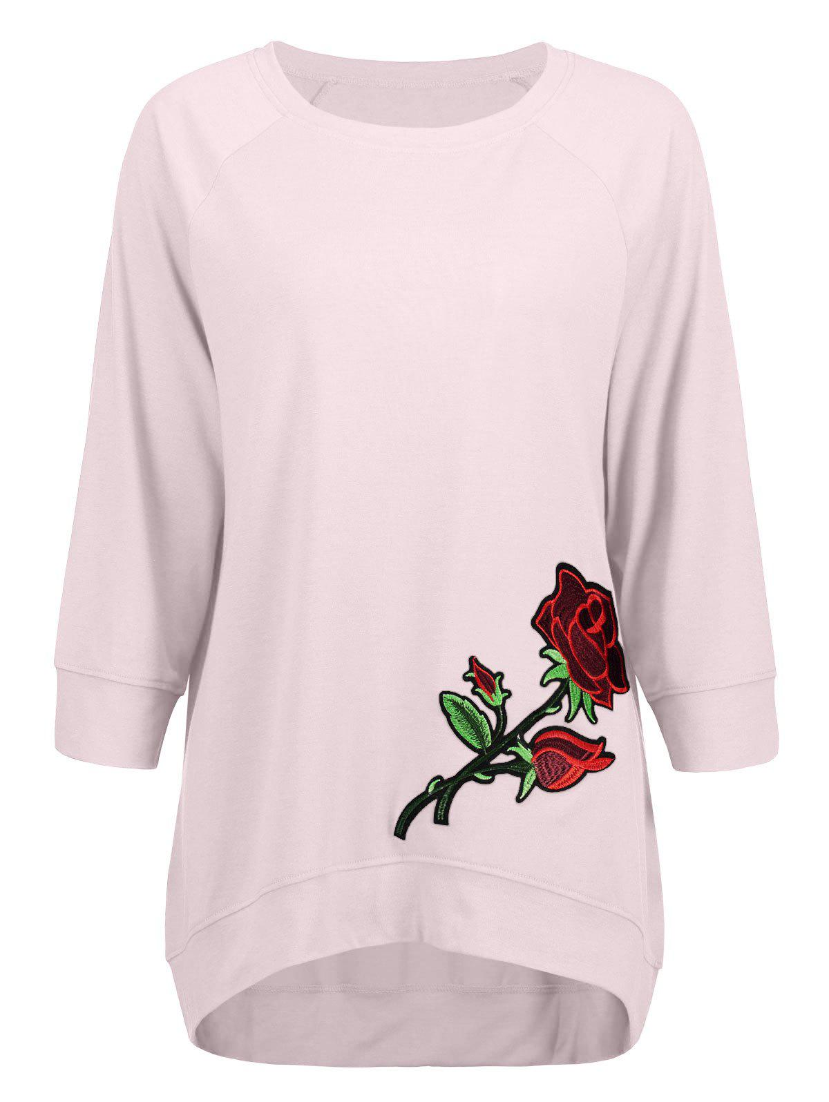 Cheap High Low Embroidery Sweatshirt