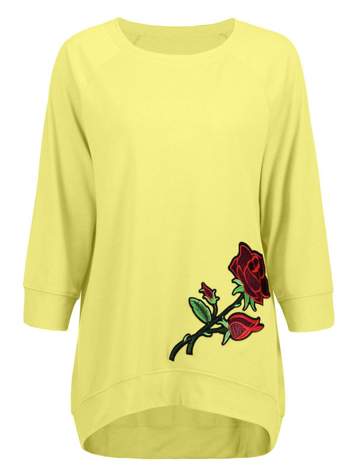 Latest High Low Embroidery Sweatshirt