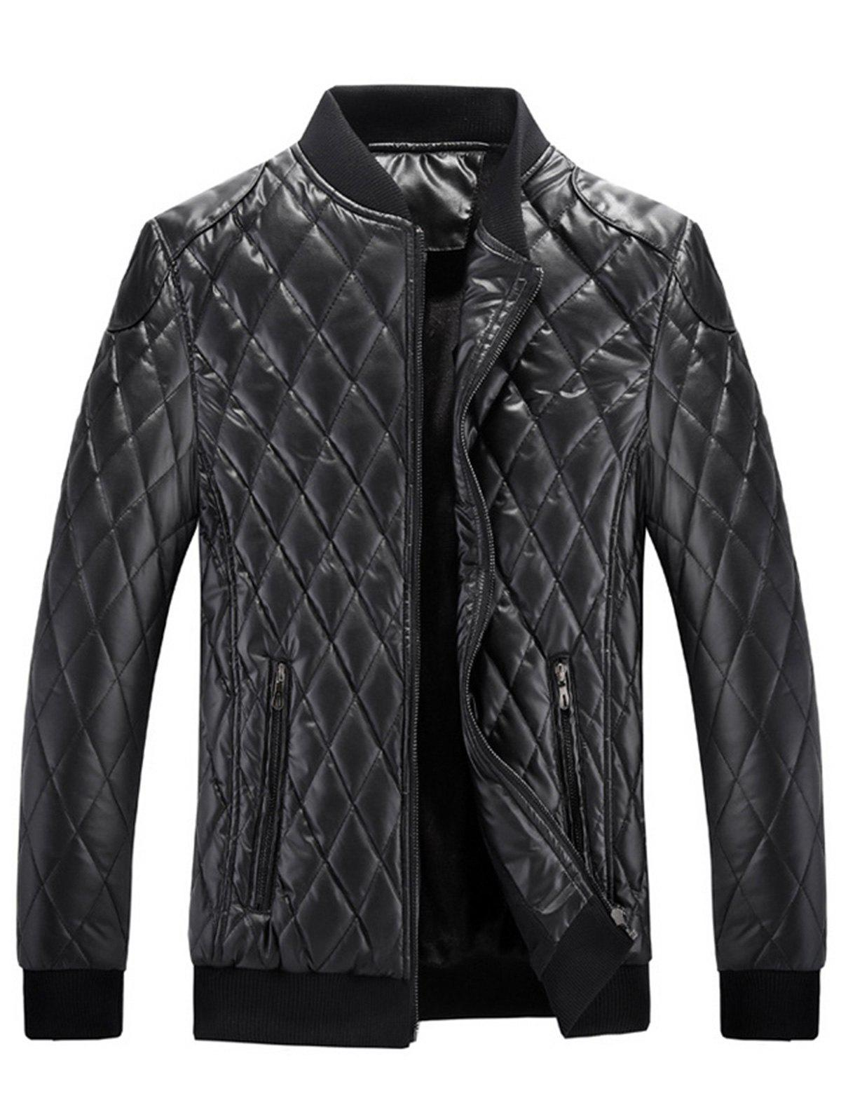 New Zip Up Checkered Faux Leather Jacket