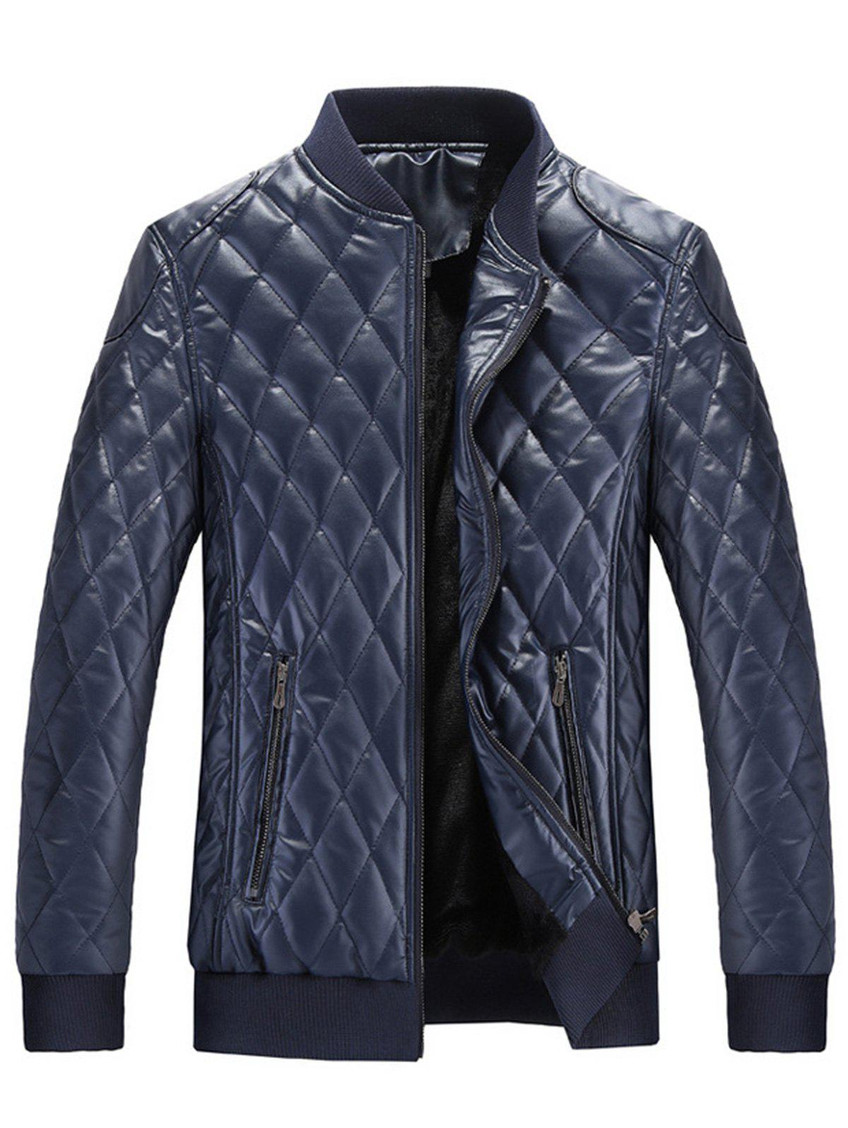 Shop Zip Up Checkered Faux Leather Jacket