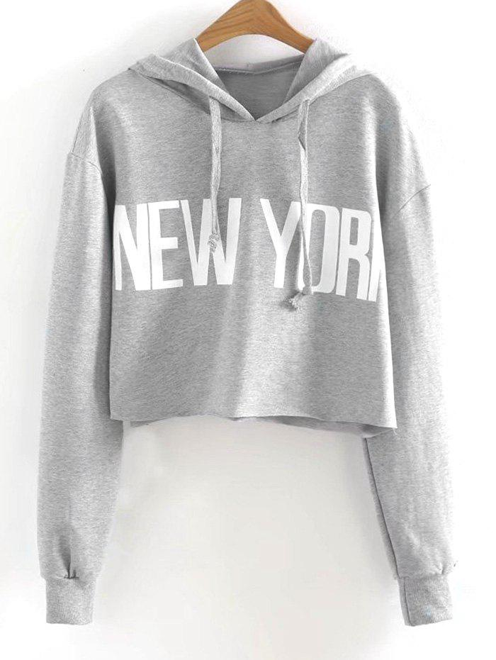 Best New York Drawstring Cropped Hoodie