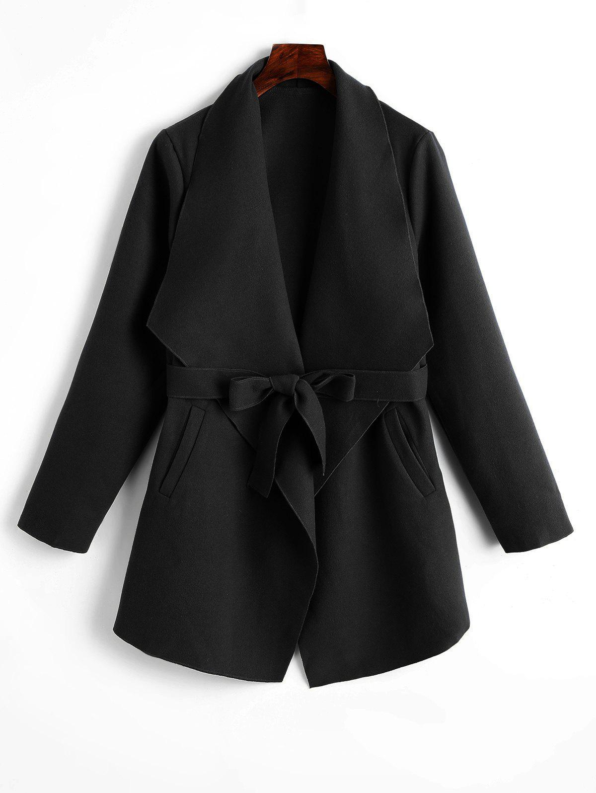 Outfit Belted Plain Coat with Pockets