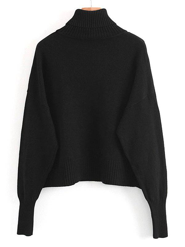 Fancy Turtleneck Pullover Sweater with Pockets