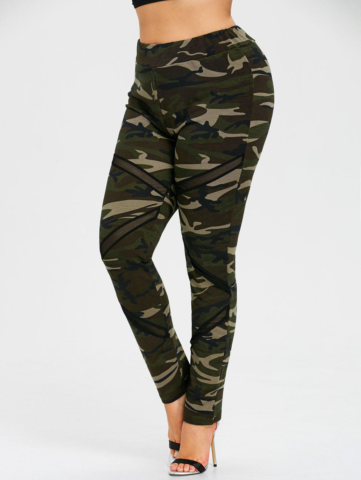 Fashion Plus Size Mesh Insert Camo Leggings