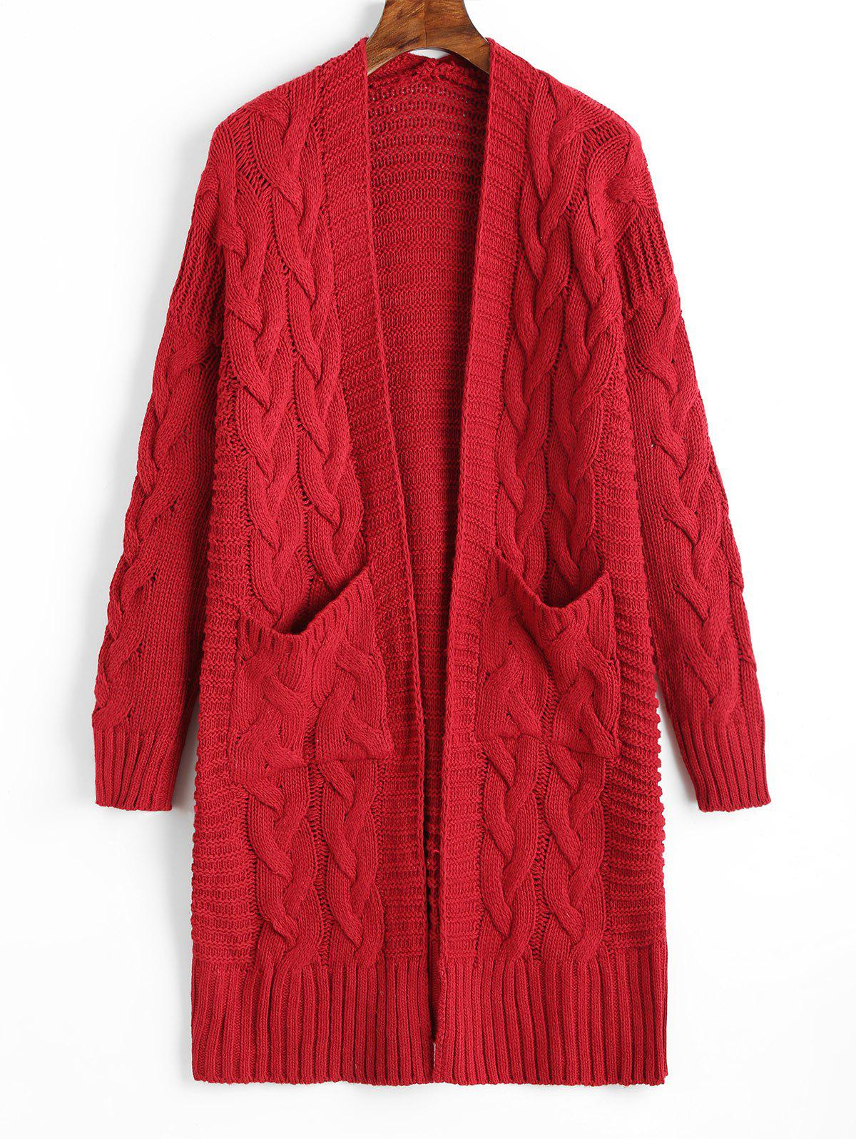 Trendy Cable Knit Longline Pockets Cardigan