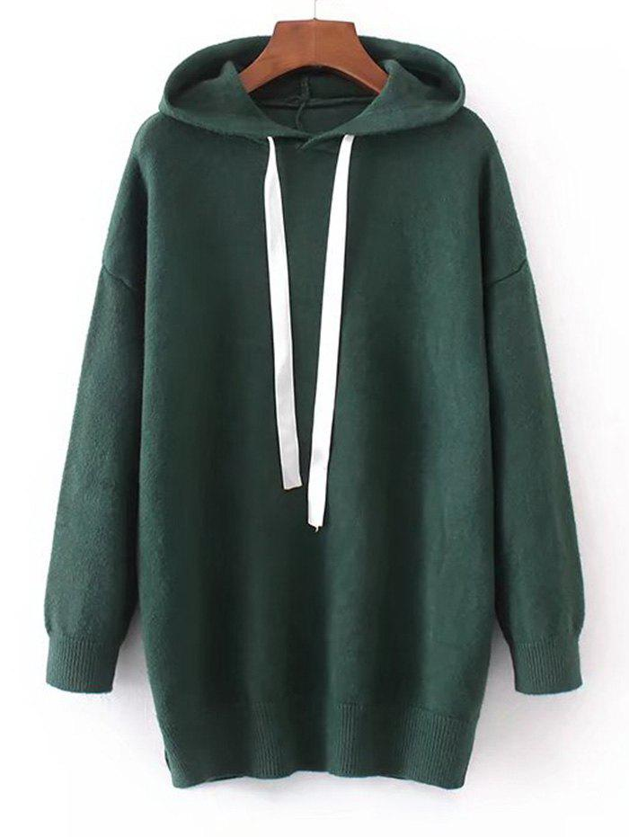 Chic Hooded Contrast Drawstring Sweater