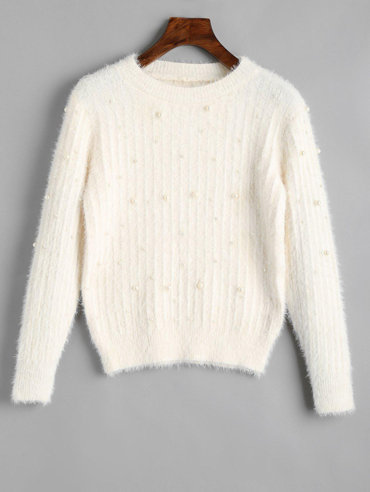 Discount Crew Neck Beaded Embellished Sweater