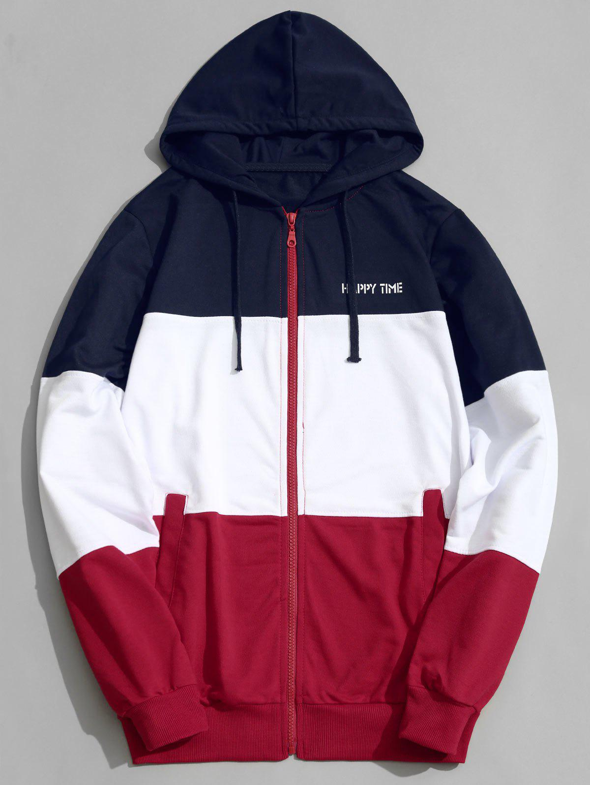 Latest Zip Up Color Block Men Hoodie