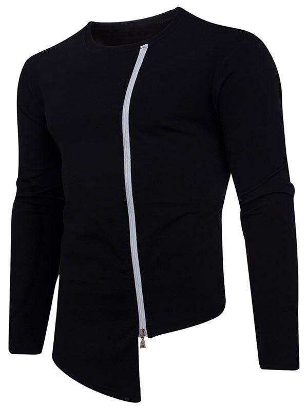 Outfits Crew Neck Zip Up Asymmetrical Tee