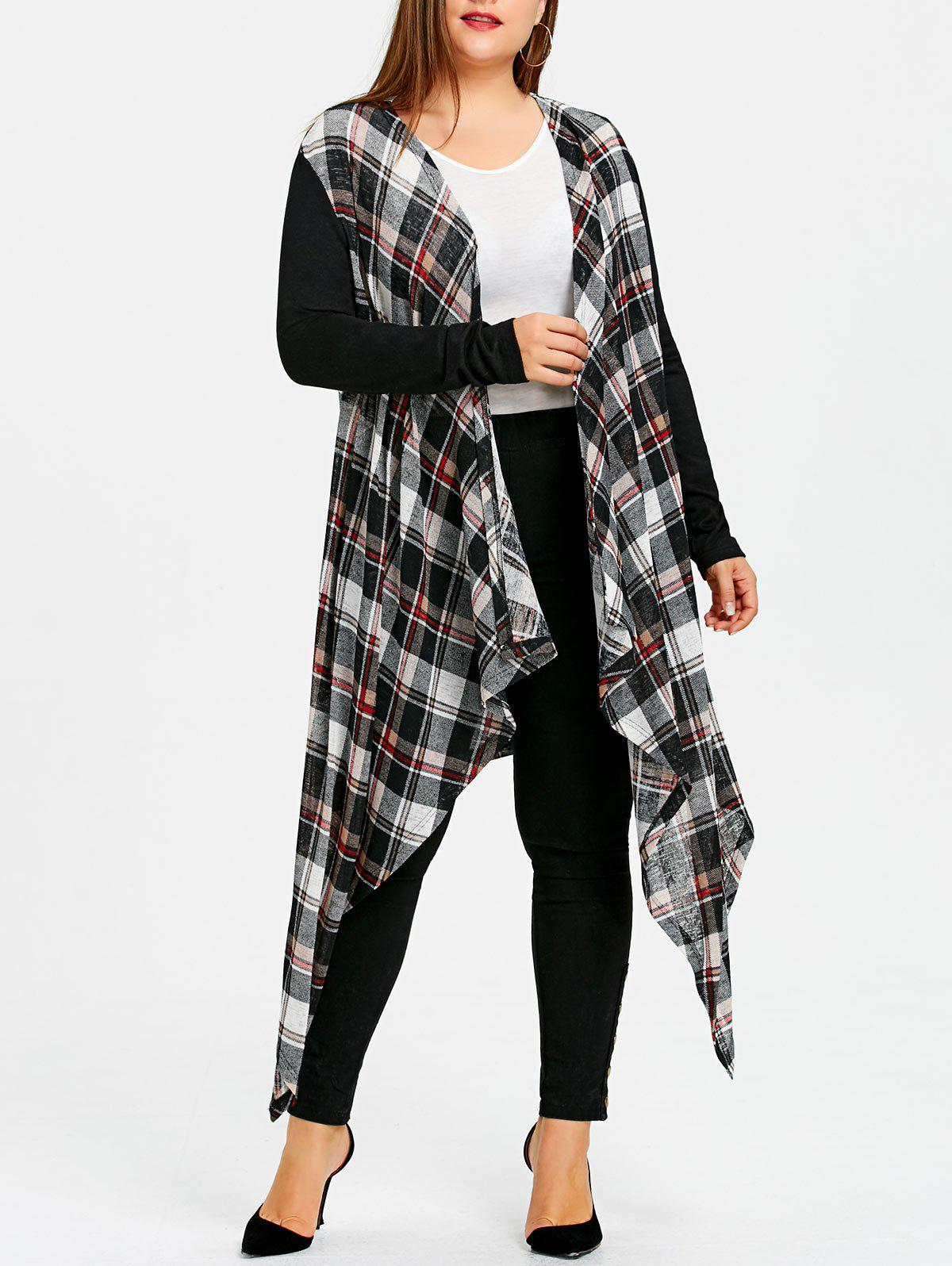 Outfit Plus Size Plaid Crescent Hem Drape Coat