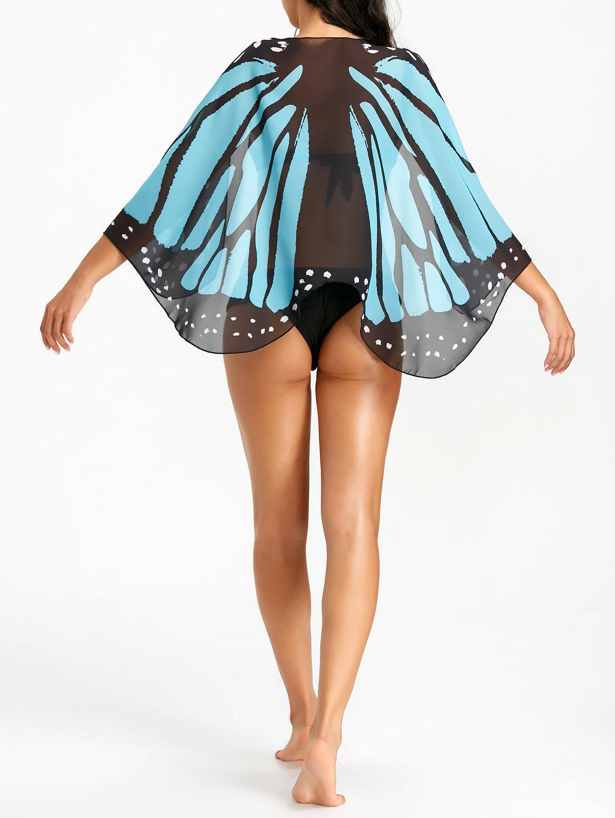 Chic Printed Butterfly Wing Beach Cover Up