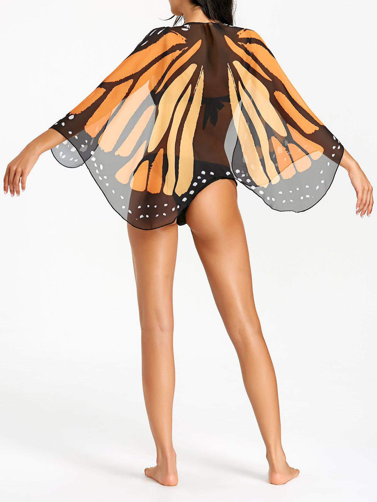 Discount Butterfly Wing Chiffon Sheer Beach Cover Up