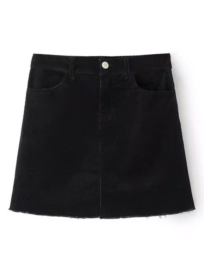 Fashion Corduroy Frayed Hem Mini Skirt