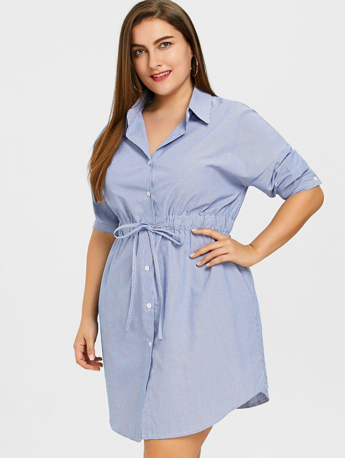 Hot Striped Drawstring Waist Plus Size Shirt Dress