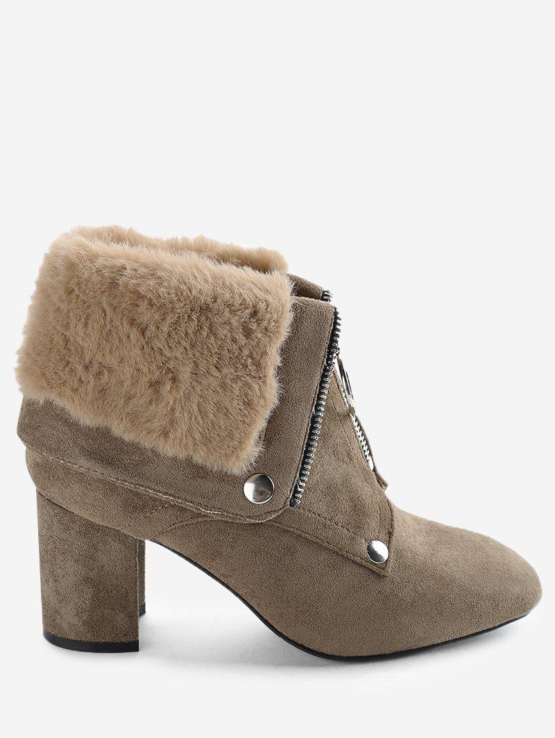 Discount Front Zip Fur-lined Foldover Ankle Boots