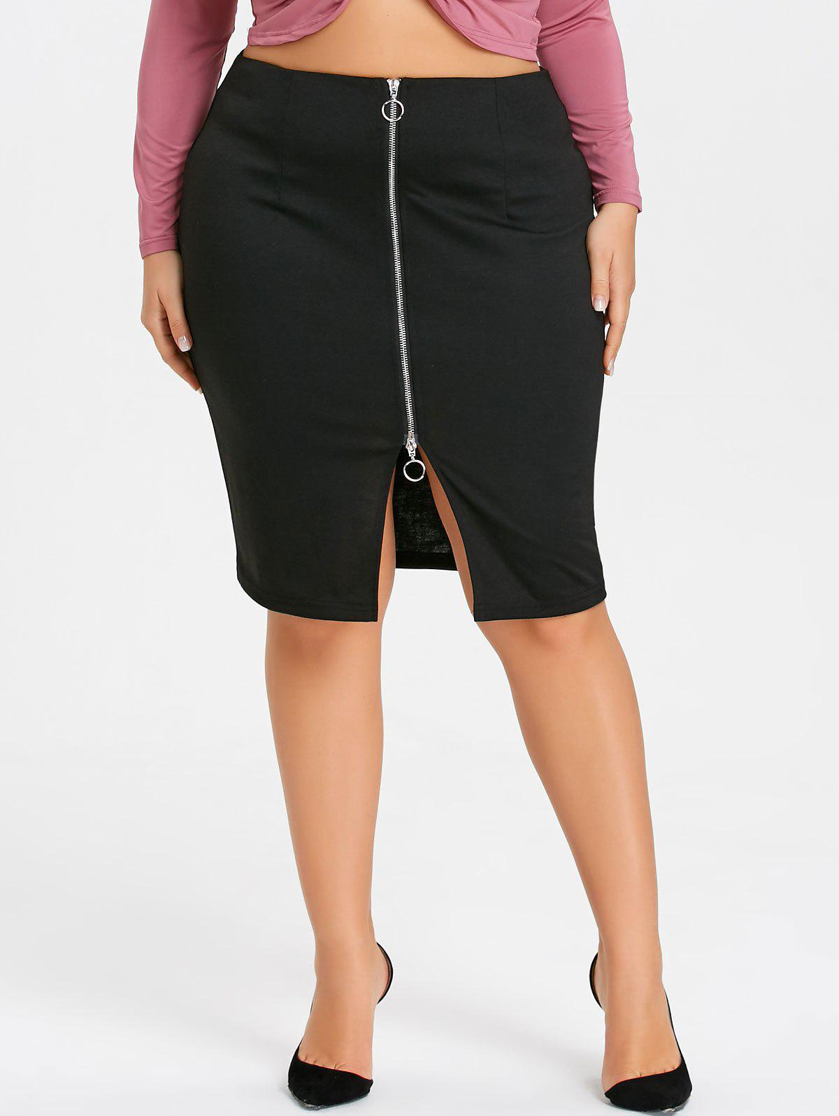 Buy Zippered Plus Size Pencil Skirt