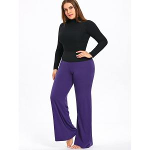 Plus Size Two Tone High Waisted Palazzo Pants -