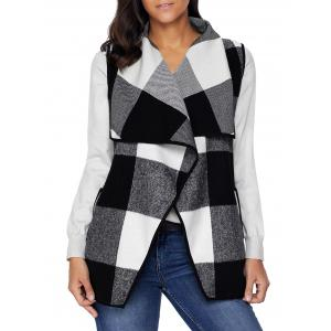 Plaid Turndown Collar Vest -