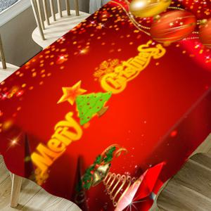 Merry Christmas Tree Balls Printed Waterproof Table Cloth -