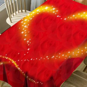Valentine's Day Roses Sparkling Heart Printed Waterproof Table Cloth -