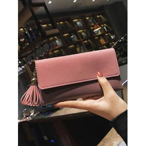 Long Frosted Wallet with Tassel Pendant -