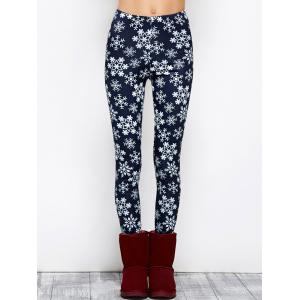 Snowflake Printed High Waist Leggings -
