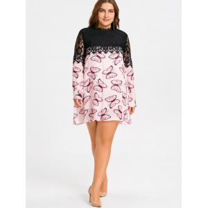 Plus Size Butterfly Printed Lace Panel Dress -