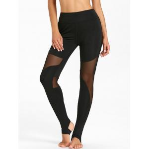 Leggings d'entraînement transparents avec empiècement en filet -