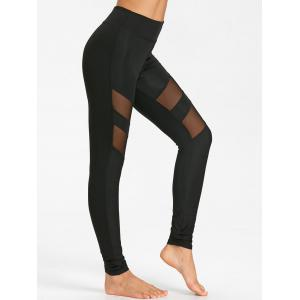 High Waist Workout Leggings With Mesh Panel -
