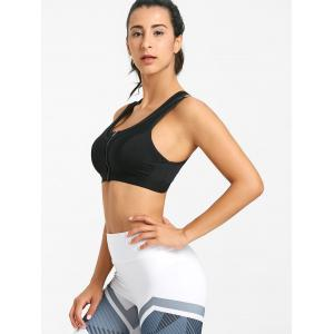 Cutout Racerback Zip Front Sports Bra -