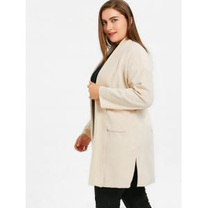 Plus Size Open Front Shawl Neck Coat with Slit -