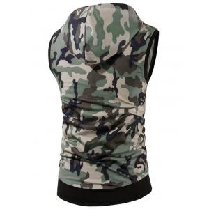Kangaroo Pocket Zip Up Hooded Camouflage Vest -