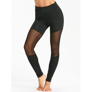 Sheer Mesh Insert Sports Tights -