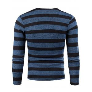 V Neck Stripe Knitted Fleece T-shirt -