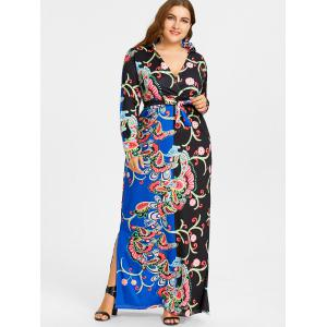 Surplice Plunging Floral Print Plus Size Dress -