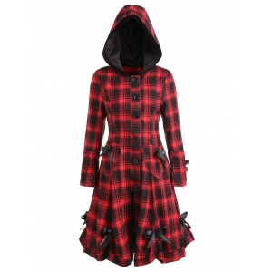 Button Up Plaid Hooded Skirted Coat -