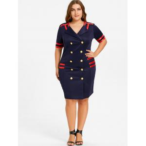 Plus Size Striped Double Breasted Bodycon Dress -