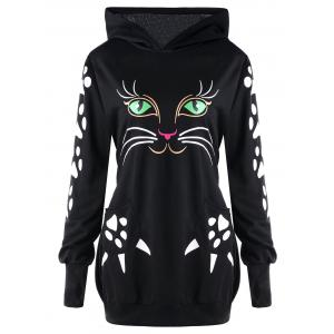 Plus Size Cat Pattern Hoodie with Ears -