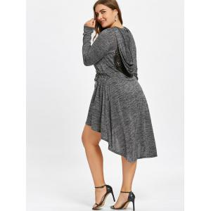Plus Size Cutwork Dip Hem Hooded Dress -