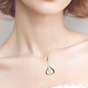 Tear Drop Hollow Out Pendant Necklace with Earrings -
