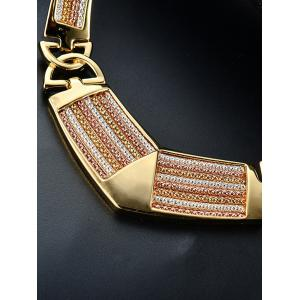 Fake Diamond Stripe Statement Pendant Necklace with Earrings -