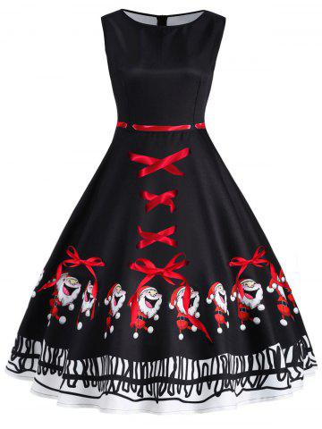 Buy Christmas Santa Claus Print Vintage Dress