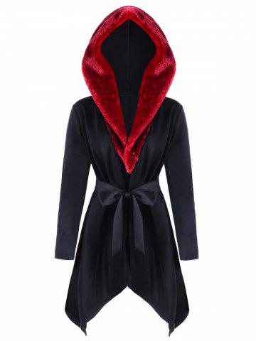 Buy Faux Fur  Trimmed Asymmetric Hooded Coat