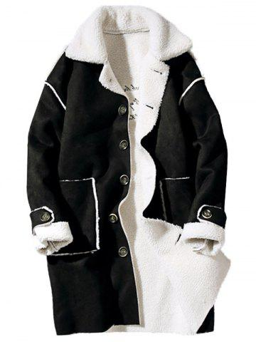 Borg Collar Shearling Coat with Embroidery