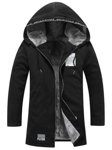 Sale Zip Up Graphic Patch Hooded Flocking Coat