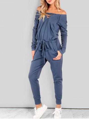 Discount Drawstring Lace Up Off The Shoulder Jumpsuit