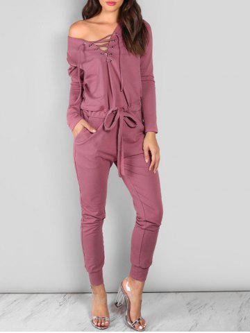 Outfit Drawstring Lace Up Off The Shoulder Jumpsuit