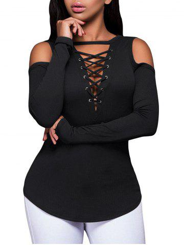 Ribbed Lace Up Open Shoulder T-shirt