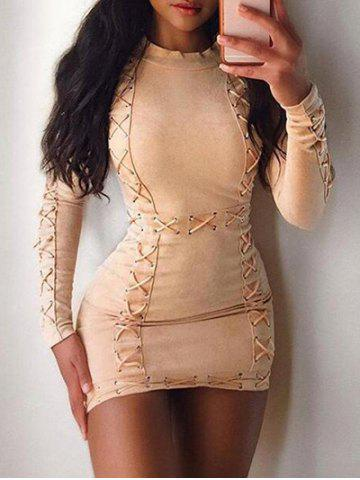 Lace Up Tight Dress  with Sleeves