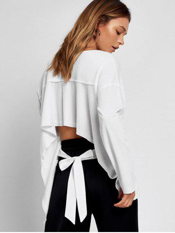 Cheap Bow Tied Cut Out Asymmetrical Sweatshirt